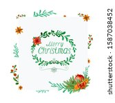 christmas floral frame with...   Shutterstock . vector #1587038452