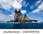 Small photo of Landscape of Roca Monumento at the Revillagigedo archipelago. These rocks formations are iconic when visiting Clarion Island, which is the most remote island of the archipelago.