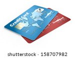 Credit Cards Isolated On White...
