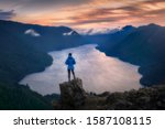 Hiker Overlooking Sunset From...