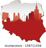 poland map in flag colors and...   Shutterstock .eps vector #158711558