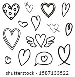 heart on white. abstract hearts ... | Shutterstock . vector #1587133522