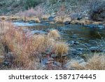 cosumnes river Mountain stream river with dry brown grass and rocks