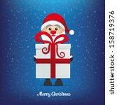 santa and gift winter snowy... | Shutterstock .eps vector #158719376