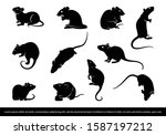 Set Of Rat Mouse Silhouette....