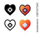 heart logo icon design in four...