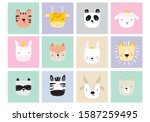 cute simple animal portraits  ... | Shutterstock .eps vector #1587259495