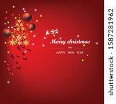 christmas card with tree and... | Shutterstock . vector #1587281962