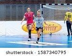 Small photo of Ramnicu Valcea, Romania - November 16, 2019 : Handball player Ann Grete Norgaard Osterballe durig the game between SCM Rm Valcea vs Brest Bretagne Handball ( 23 - 26 ) - 2019/2020 Women's EHF Champ