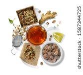 picking of herbs  berries  tea...   Shutterstock . vector #1587344725