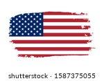 american flag. grunge old flag... | Shutterstock . vector #1587375055