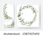 invitation cards with floral... | Shutterstock .eps vector #1587437692