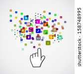 pointing hand with icon  paper... | Shutterstock .eps vector #158748995