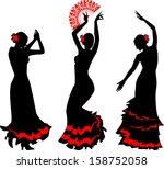 Three Silhouettes Of Flamenco...