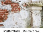 Remnants Of White Plaster On A...