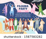 pajamas party poster on memphis ... | Shutterstock .eps vector #1587583282