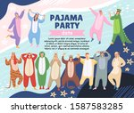 pajamas party poster on memphis ... | Shutterstock .eps vector #1587583285