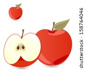 red apple with slices vector... | Shutterstock .eps vector #158764046