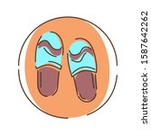 slippers color line icon. light ...