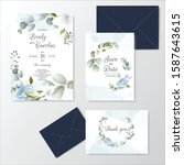 hand drawn floral wedding...   Shutterstock .eps vector #1587643615