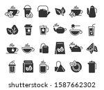 black tea leaves icons. hot...   Shutterstock . vector #1587662302