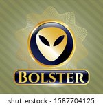 gold badge with alien icon and ... | Shutterstock .eps vector #1587704125