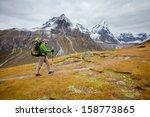 hiker on the trek in himalayas  ... | Shutterstock . vector #158773865