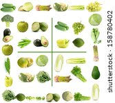 collage of green vegetables and ... | Shutterstock . vector #158780402