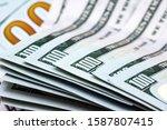 close up of new hundred dollar... | Shutterstock . vector #1587807415
