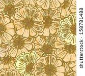 zinnia flower  vector seamless...   Shutterstock .eps vector #158781488