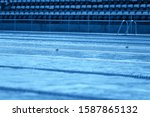 swimming pool with competition... | Shutterstock . vector #1587865132