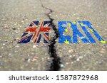 the word brexit on asphalt...