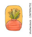 thrive plant man - Digital hand drawn illustration of a plants bouquet that popes out of a neck of a red sweater.