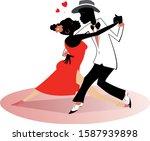 romantic dancing young african...   Shutterstock .eps vector #1587939898