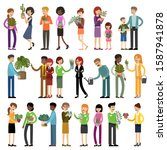 set of people with house plants ... | Shutterstock .eps vector #1587941878