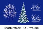 Vector Set Of Snow Covered...