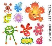 bacteria and virus cartoon.... | Shutterstock .eps vector #158796782