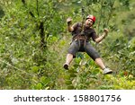 adult man  zip line adventure... | Shutterstock . vector #158801756