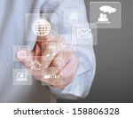 hand pressing modern social... | Shutterstock . vector #158806328