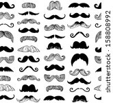 Vintage Style Moustaches Seamless Pattern
