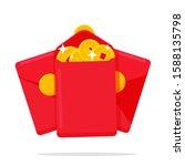 angpao vector a red envelope... | Shutterstock .eps vector #1588135798