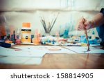 beautiful blonde woman painter... | Shutterstock . vector #158814905