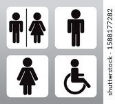 wc toilet man  woman and... | Shutterstock .eps vector #1588177282