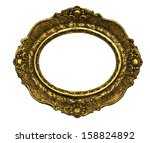 Vintage golden frame isolated over white background - stock photo