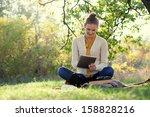 distance education. sitting... | Shutterstock . vector #158828216
