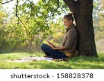 distance education. young woman ... | Shutterstock . vector #158828378