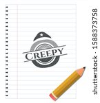 creepy emblem drawn in pencil.... | Shutterstock .eps vector #1588373758