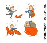 little cute boy and foxes....   Shutterstock .eps vector #1588390582