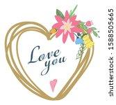 hand drawn heart frame wreath...   Shutterstock .eps vector #1588505665