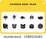 chinese new year flat  icons...